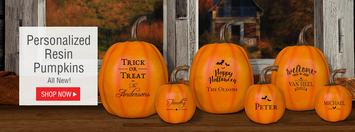All New Personalized Resin Pumpkins in Large and Small Sizes