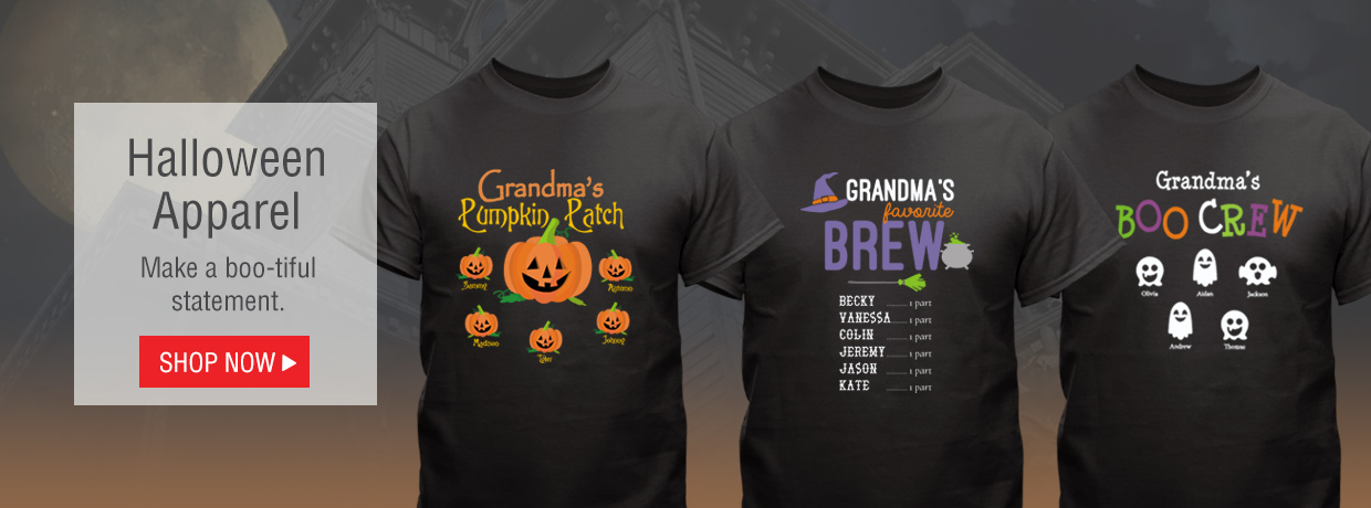 Halloween Apparel for kids and adults! Pumpkins, Ghosts, Witch's Brew, and More Halloween themed shirts and sweatshirts