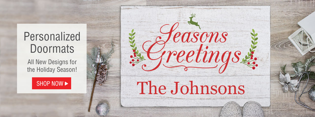 Personalized doormats to holiday and Christmas.