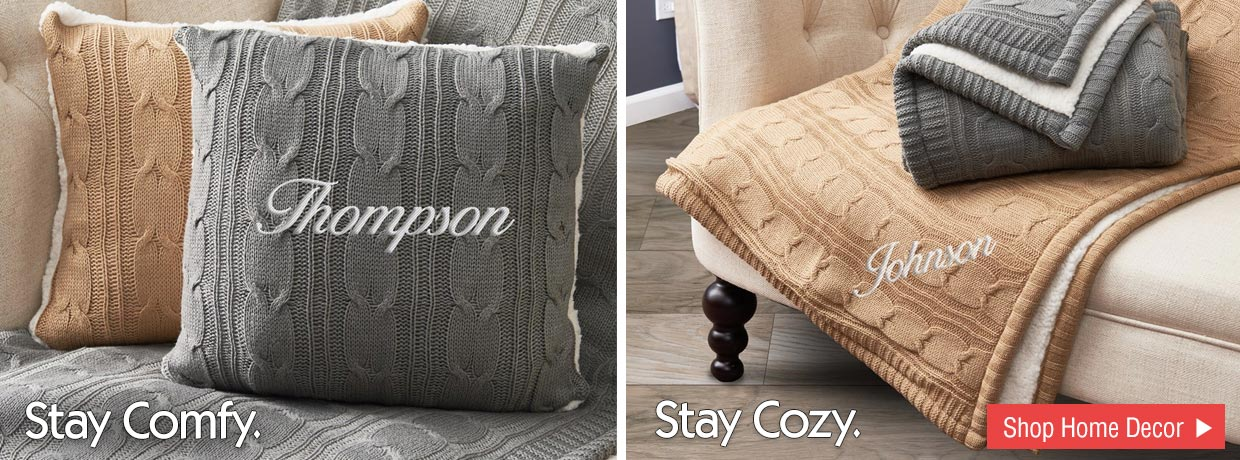 Personalized Cable Knit Pillows and Throw Blankets