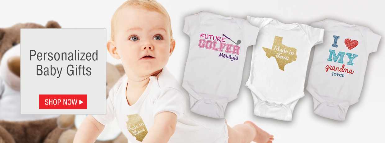Personalized Baby Gifts with new Onesie and Creeper Designs