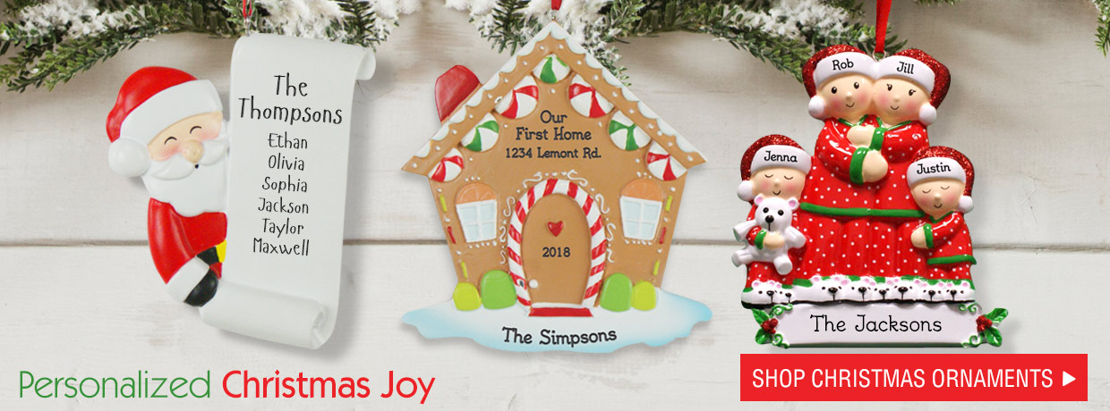 Exclusive Designs for our personalized Christmas ornaments
