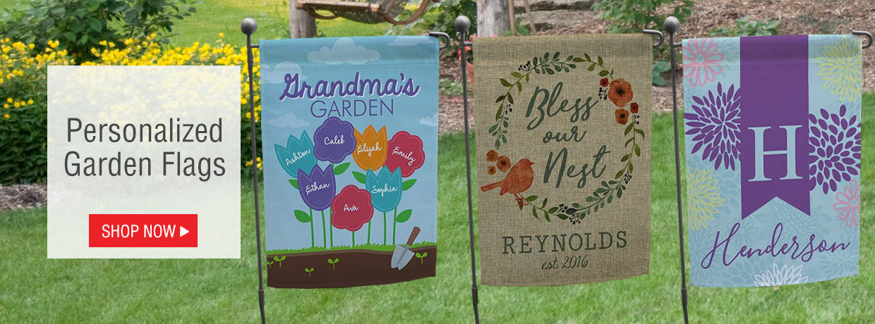 Spring is Here! Decorate the garden and frontyard / backyard with personalized garden flags.