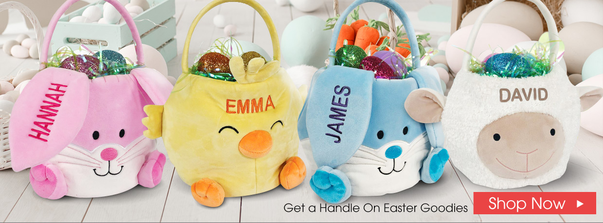 Personalized Easter Gifts with Plush Bunnies and Easter Baskets