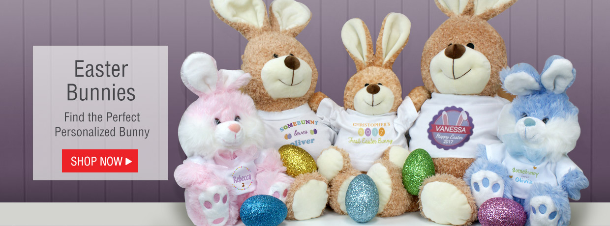 Easter Bunnies and Plush to celebrate all Your Easter Personalized Gift Giving