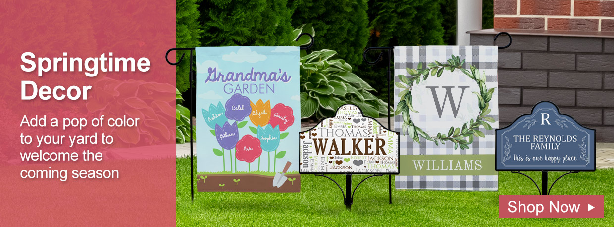 Outdoor Spring Decor with Garden Flags and Magnetic Signs