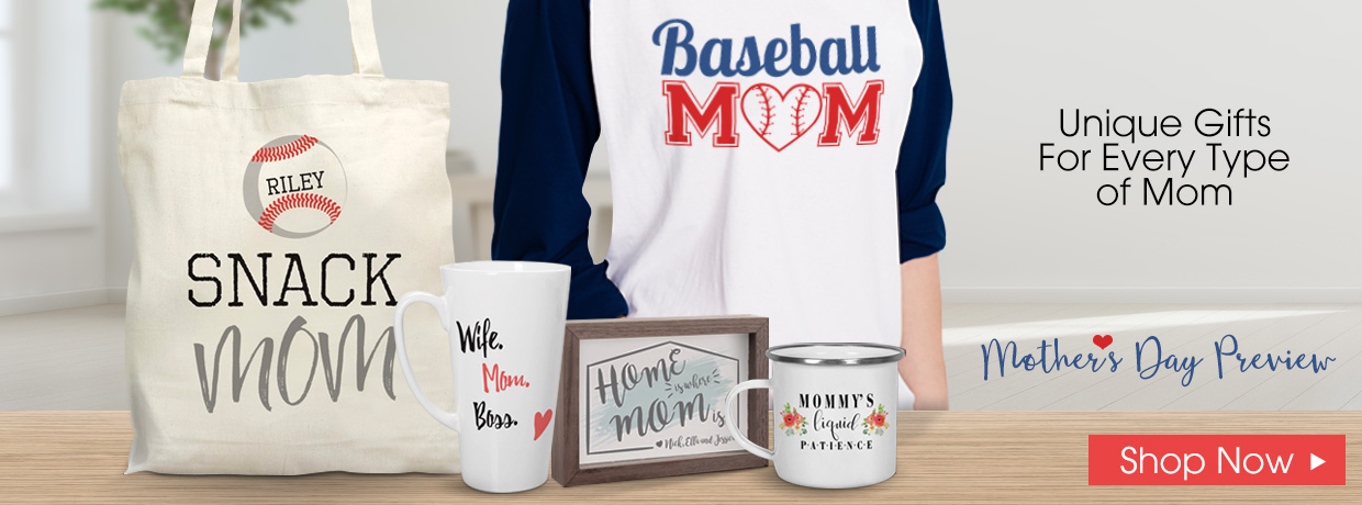 Personalized Mother's Day Mugs, Keepsakes, and raglan shirts