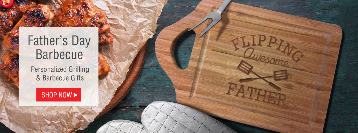 Personalized Grilling and Barbecue Gifts including BBQ Aprons, Cutting Boards, and Tools.
