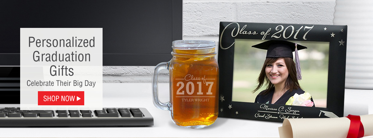 Personalized Graduation Gifts with Frames, Keepsakes, Mason Jars, and more.