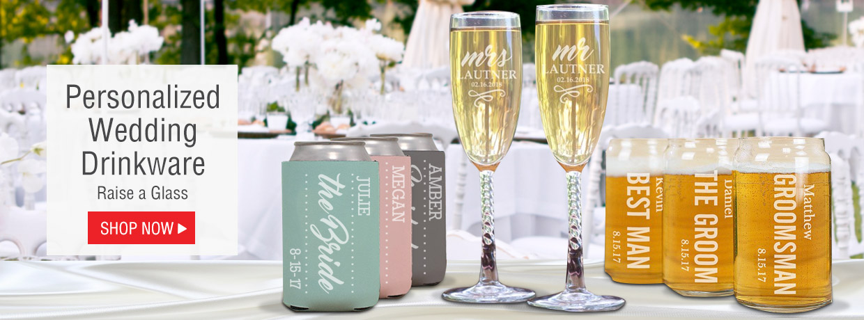 Personalized Wedding Drinkware with Flutes, Winr Glasses, Beer glasses, shot glasses, and more!
