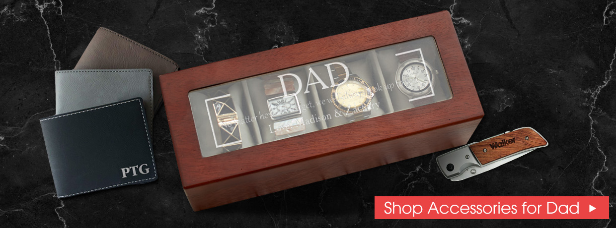 Personalized Father's Day Accessories with knives, watch boxes, wallets, and more.