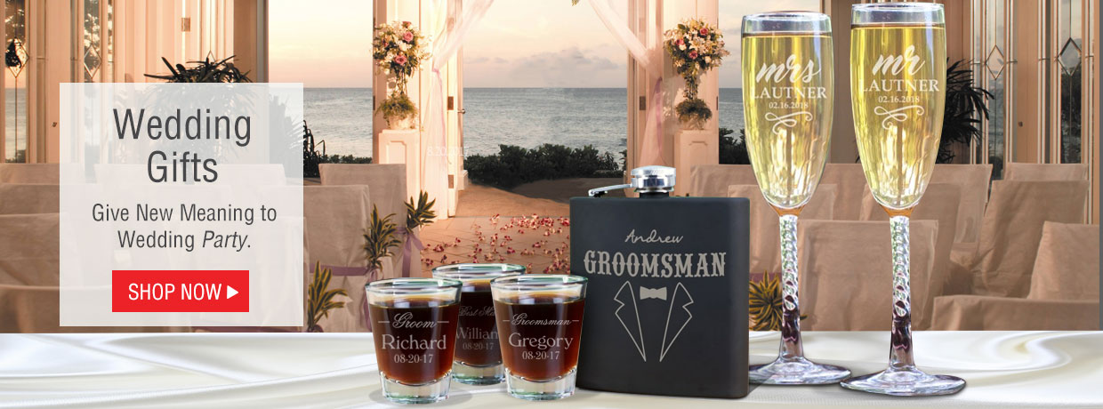 Personalized Wedding Gifts including Drinkware, Flasks, Frames, and Our Best Selling Personalized Gifts