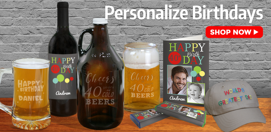 Personalized Birthday Gifts Ideas - Growlers, Cards, Mugs, and More