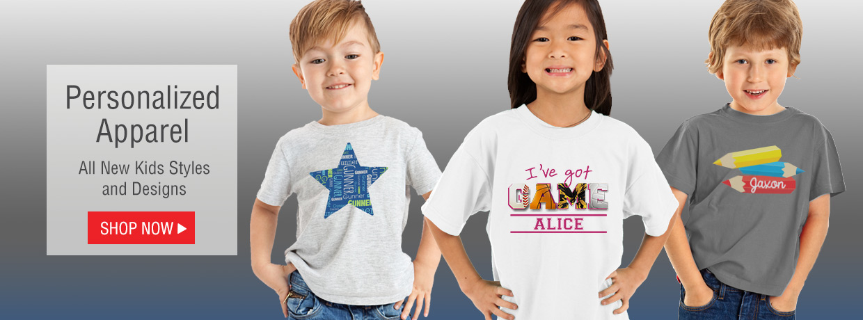 Personalized Kids Apparel with all new styles and designs!