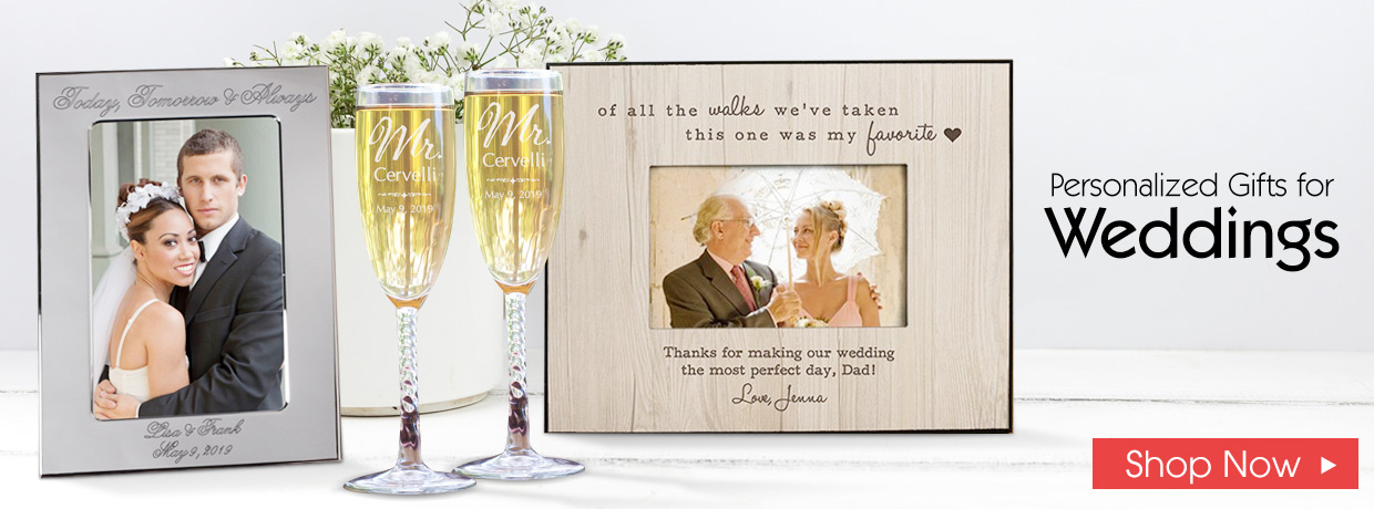 Shop Wedding Gifts with Frames and Wine Glasses