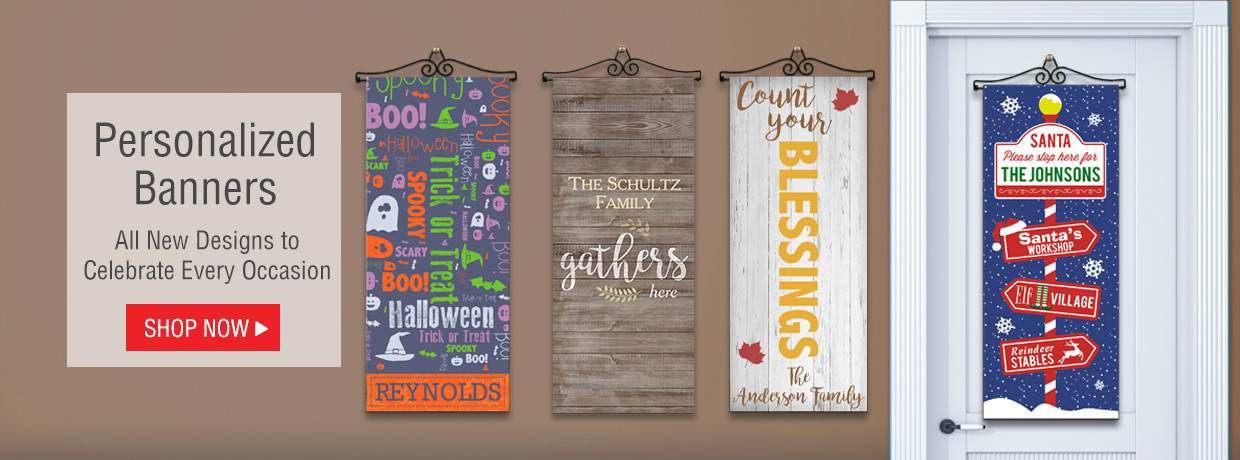Personalized Door and Wall Banners for Halloween, Thanksgiving, Christmas, Fall, and More