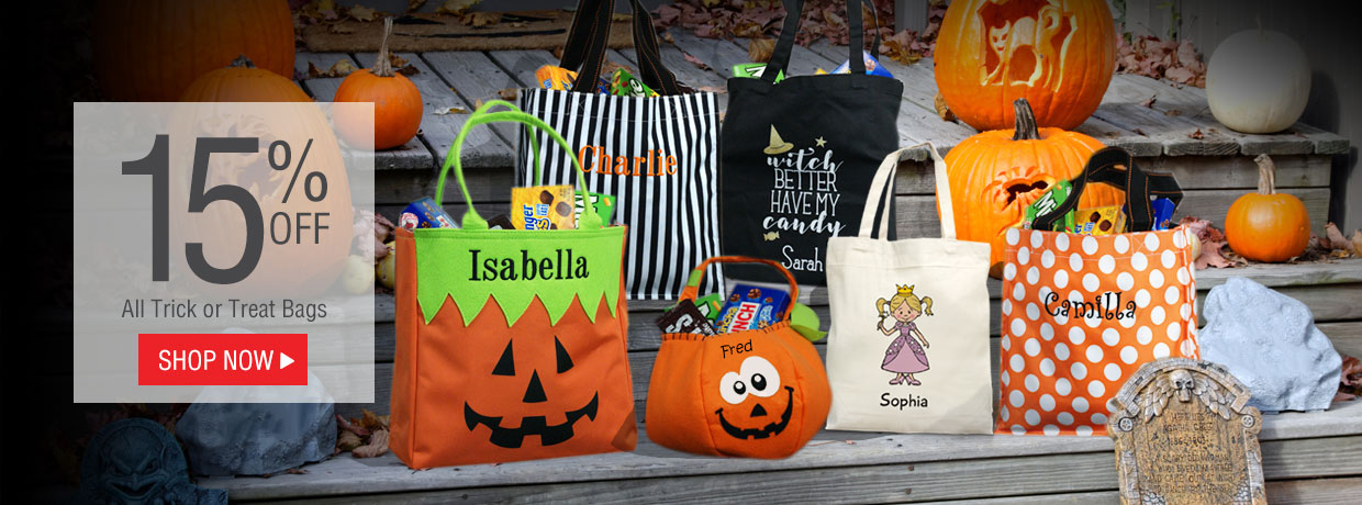Personalized Halloween Totes, Trick or Treat Bags, Banners, Garden Flags, Doormats, Mason Jars
