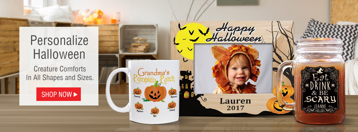 All new personalized Halloween gifts with mugs, frames, mason jars and more.