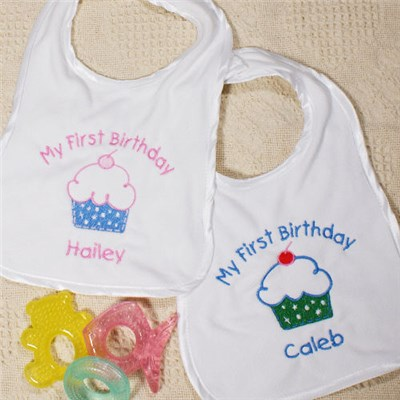 Embroidered First Birthday Baby Bibs