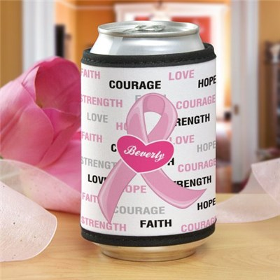 Hope and Love Breast Cancer Awareness Can Wrap Koozie