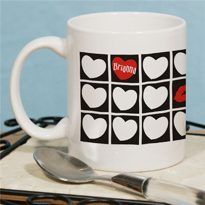 Personalized Kissing Hearts Coffee Mugs