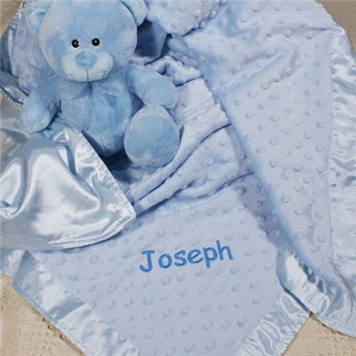 Embroidered Blue Baby Blanket