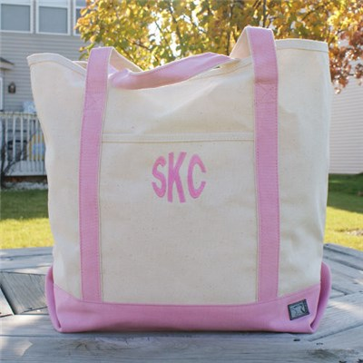 Embroidered Initials Pink Tote Bag