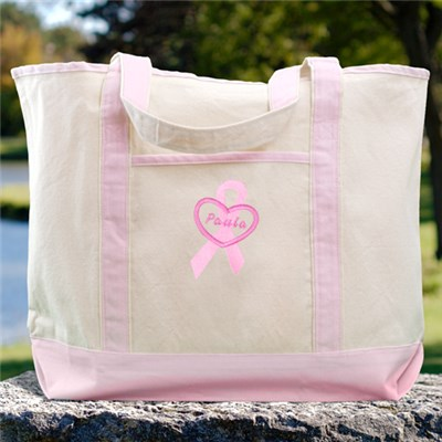 Embroidered Breast Cancer Awareness Pink Canvas Tote Bag
