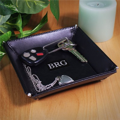 Personalized Black Leather Valet Tray Keepsake
