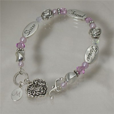 Personalized Sisters Heart Bracelet