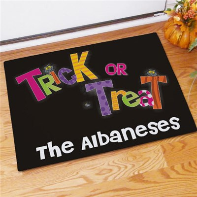 Personalized Trick or Treat Welcome Doormat