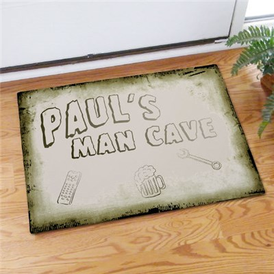 Personalized Man Cave Door Mat for Dad, Grandpa, Uncle or Brother