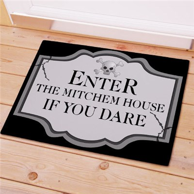 Personalized Scary Halloween Door Mat