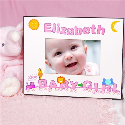 Personalized Animal Train Baby Girl Picture Frame