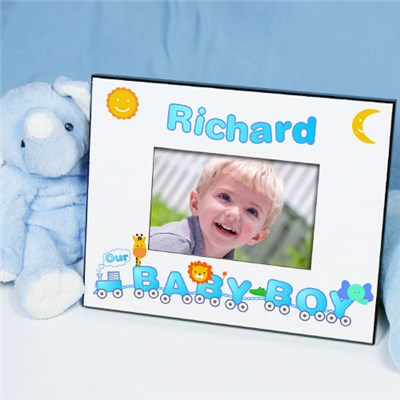 Personalized Baby Boy Animal Train Picture Frame