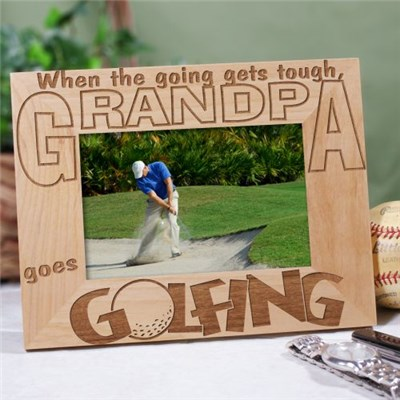 Engraved Wood Golf Picture Frame for Dad, Grandpa or Him