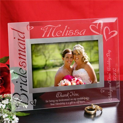 Personalized Bridesmaid Glass Picture Frames