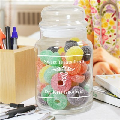 Personalized Doctors Office Goodies Treat Glass Jar