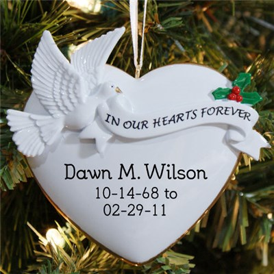 Personalized Memorial Dove Christmas Ornaments