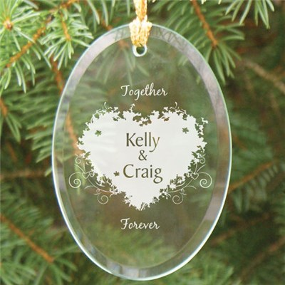 Engraved Glass Oval Ornament for Couples