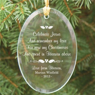 Personalized Glass Memorial Christmas Ornament