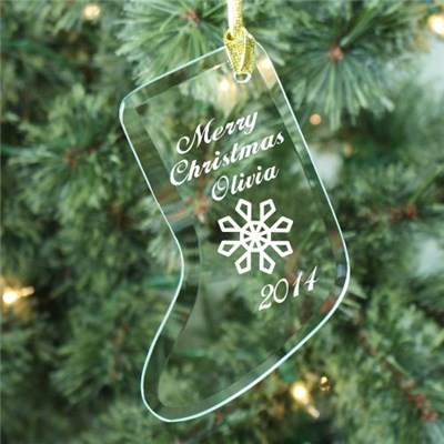 Personalized Christmas Glass Stocking Ornaments