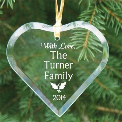 Engraved Family Heart Glass Ornaments