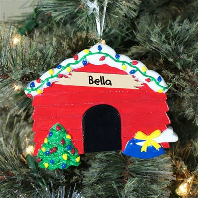 Personalized Dog House Christmas Tree Ornament