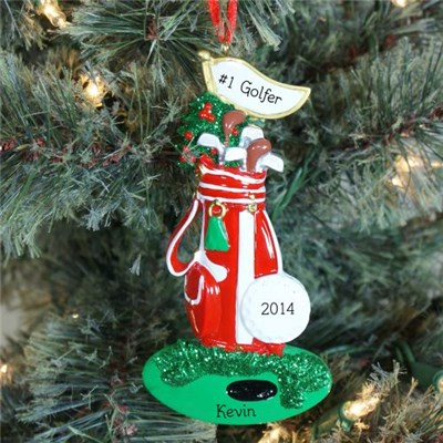 Personalized Golfing Christmas Ornament