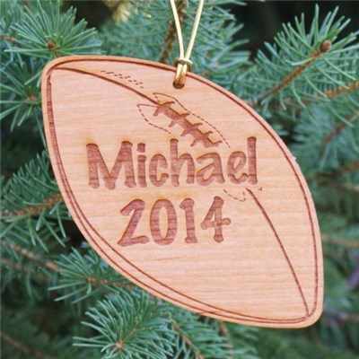 Engraved Football Wood Christmas Ornaments