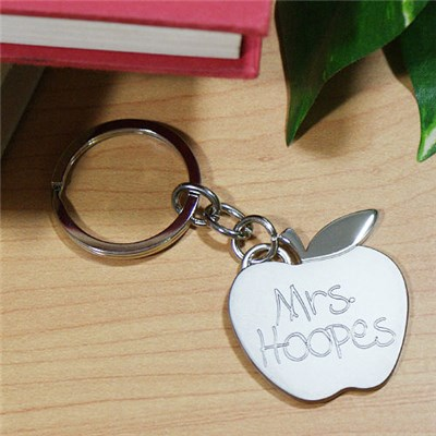 Engraved Apple Keychain for Teacher Appreciation Gifts