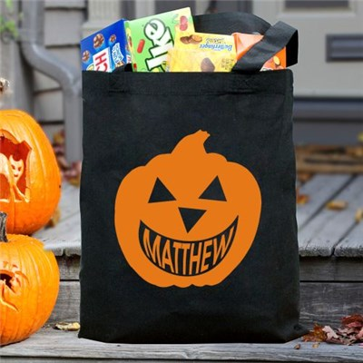Personalized Pumpkin Black Tote Bag