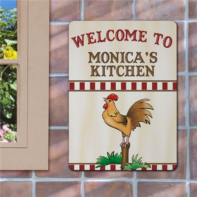 Personalized Kitchen Rooster Wall Sign
