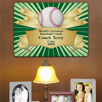 Personalized Baseball Coach Award Wall Sign